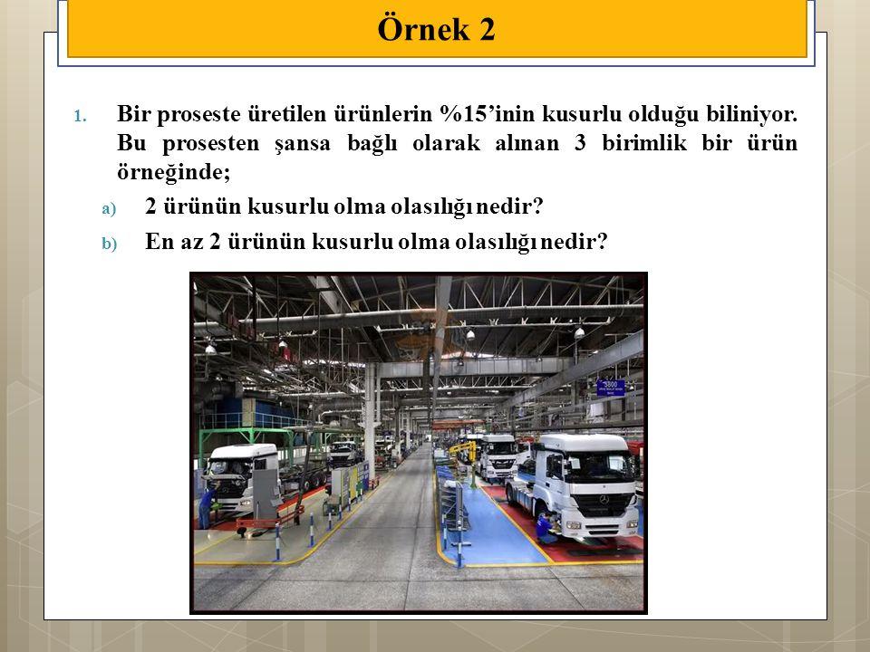 1. Bir proseste üretilen ürünlerin %15'inin kusurlu olduğu biliniyor. Bu prosesten şansa bağlı olarak alınan 3 birimlik bir ürün örneğinde; a) 2 ürünü