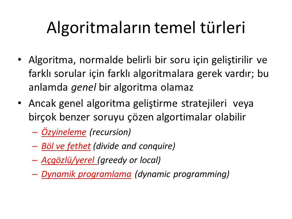 Algoritmaların temel türleri • Algoritma, normalde belirli bir soru için geliştirilir ve farklı sorular için farklı algoritmalara gerek vardır; bu anl
