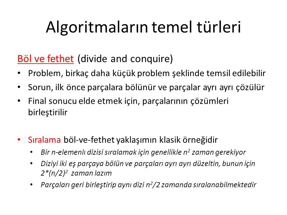 Algoritmaların temel türleri Böl ve fethet (divide and conquire) • Problem, birkaç daha küçük problem şeklinde temsil edilebilir • Sorun, ilk önce par