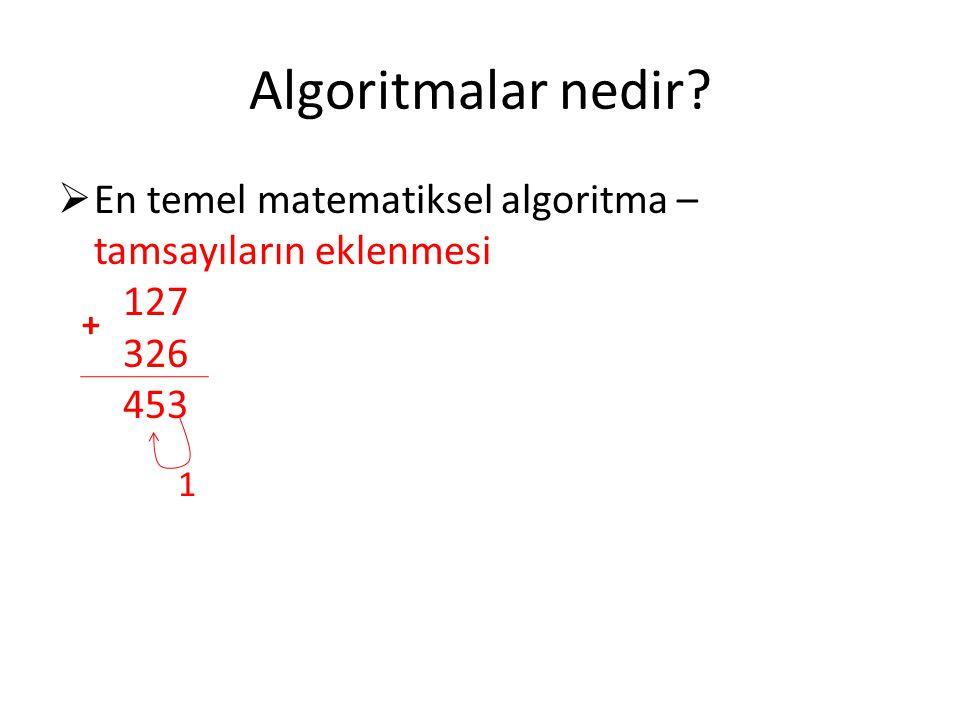 Algoritmalar nedir?  En temel matematiksel algoritma – tamsayıların eklenmesi 127 326 453 + 1
