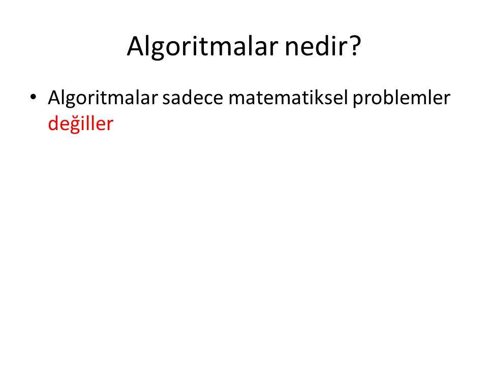 Algoritmalar nedir? • Algoritmalar sadece matematiksel problemler değiller