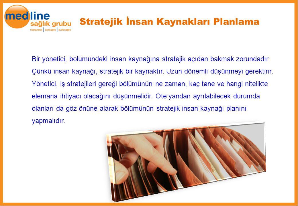 Stratejik İnsan Kaynakları Planlama Bir yönetici, bölümündeki insan kaynağına stratejik açıdan bakmak zorundadır. Çünkü insan kaynağı, stratejik bir k
