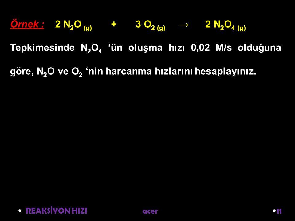 REAKS İ YON HIZI acer 11 Örnek : 2 N 2 O (g) + 3 O 2 (g) → 2 N 2 O 4 (g) Tepkimesinde N 2 O 4 'ün oluşma hızı 0,02 M/s olduğuna göre, N 2 O ve O 2 'nin harcanma hızlarını hesaplayınız.