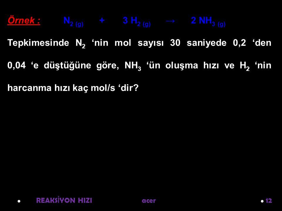 REAKS İ YON HIZI acer 12 Örnek : N 2 (g) + 3 H 2 (g) → 2 NH 3 (g) Tepkimesinde N 2 'nin mol sayısı 30 saniyede 0,2 'den 0,04 'e düştüğüne göre, NH 3 'ün oluşma hızı ve H 2 'nin harcanma hızı kaç mol/s 'dir?