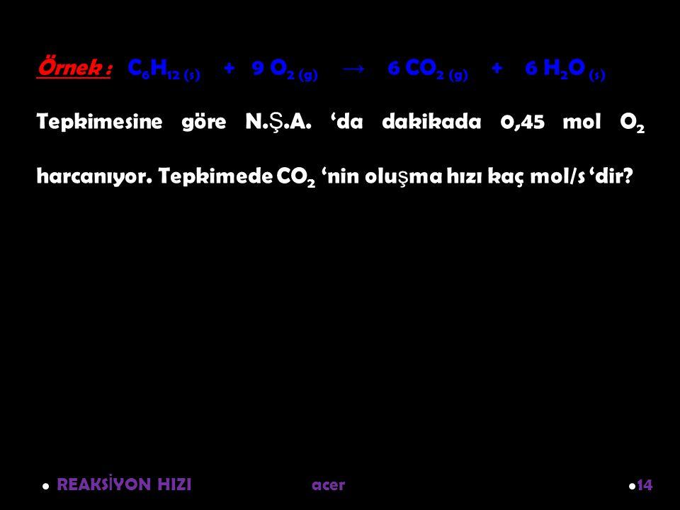 REAKS İ YON HIZI acer 14 Örnek : C 6 H 12 (s) + 9 O 2 (g) → 6 CO 2 (g) + 6 H 2 O (s) Tepkimesine göre N. Ş.A. 'da dakikada 0,45 mol O 2 harcanıyor. Te