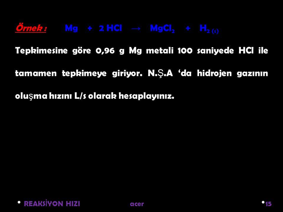 REAKS İ YON HIZI acer 15 Örnek : Mg + 2 HCl → MgCl 2 + H 2 (s) Tepkimesine göre 0,96 g Mg metali 100 saniyede HCl ile tamamen tepkimeye giriyor.