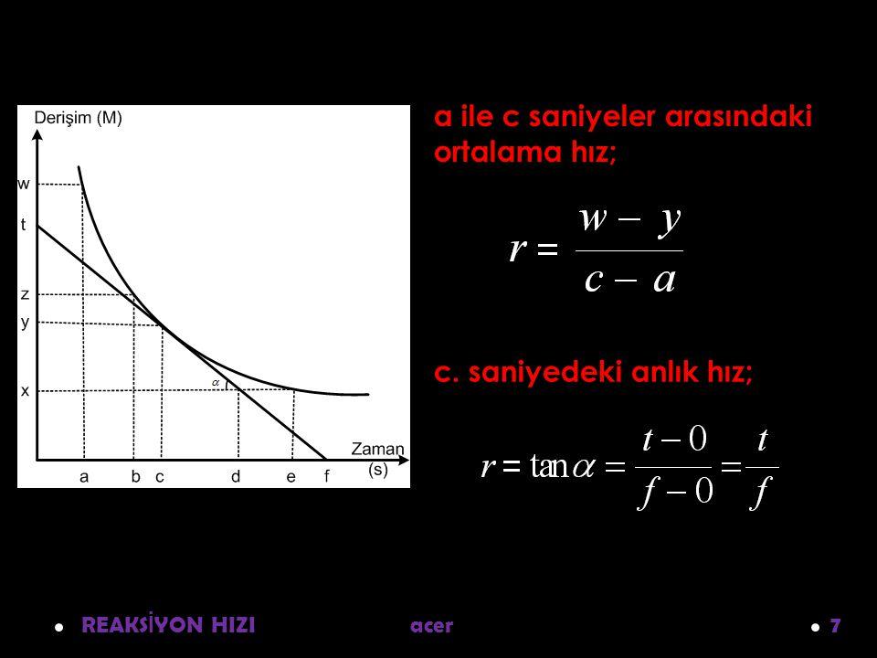 REAKS İ YON HIZI acer 7 a ile c saniyeler arasındaki ortalama hız; c. saniyedeki anlık hız;