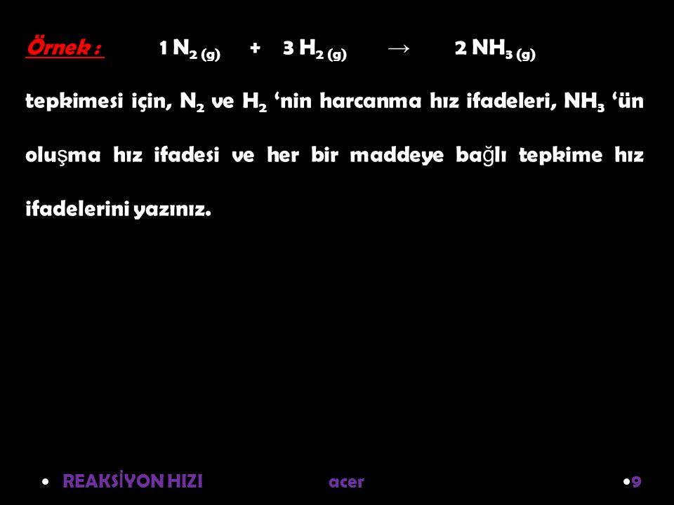 REAKS İ YON HIZI acer 9 Örnek : 1 N 2 (g) + 3 H 2 (g) → 2 NH 3 (g) tepkimesi için, N 2 ve H 2 'nin harcanma hız ifadeleri, NH 3 'ün olu ş ma hız ifadesi ve her bir maddeye ba ğ lı tepkime hız ifadelerini yazınız.