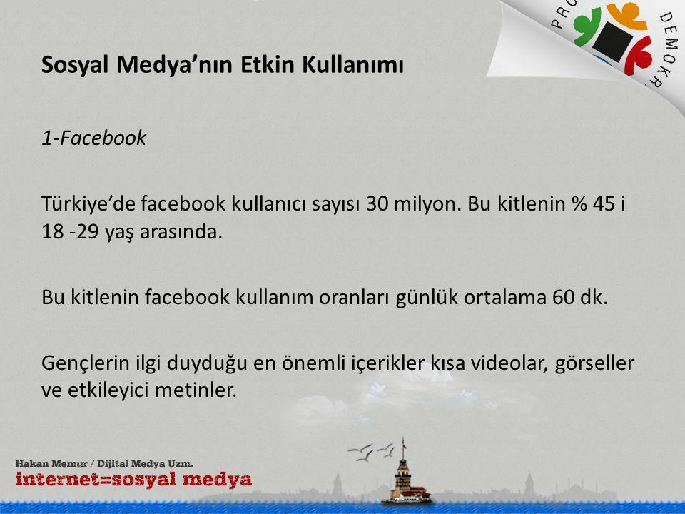 Sosyal Medya'nın Etkin Kullanımı 1-Facebook Türkiye'de facebook kullanıcı sayısı 30 milyon. Bu kitlenin % 45 i 18 -29 yaş arasında. Bu kitlenin facebo