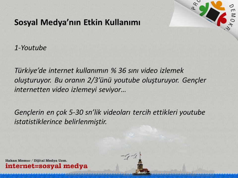 Sosyal Medya'nın Etkin Kullanımı 1-Youtube Türkiye'de internet kullanımın % 36 sını video izlemek oluşturuyor. Bu oranın 2/3'ünü youtube oluşturuyor.