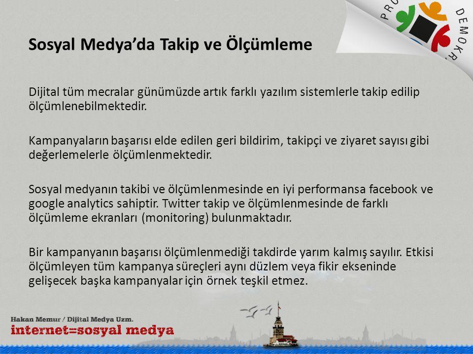 Sosyal Medya'da Takip ve Ölçümleme Dijital tüm mecralar günümüzde artık farklı yazılım sistemlerle takip edilip ölçümlenebilmektedir.