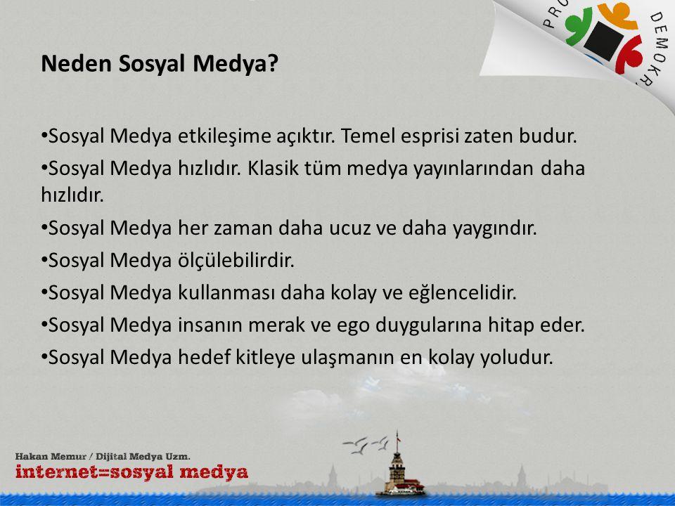 Neden Sosyal Medya.• Sosyal Medya etkileşime açıktır.