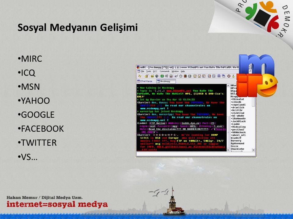Sosyal Medyanın Gelişimi • MIRC • ICQ • MSN • YAHOO • GOOGLE • FACEBOOK • TWITTER • VS…