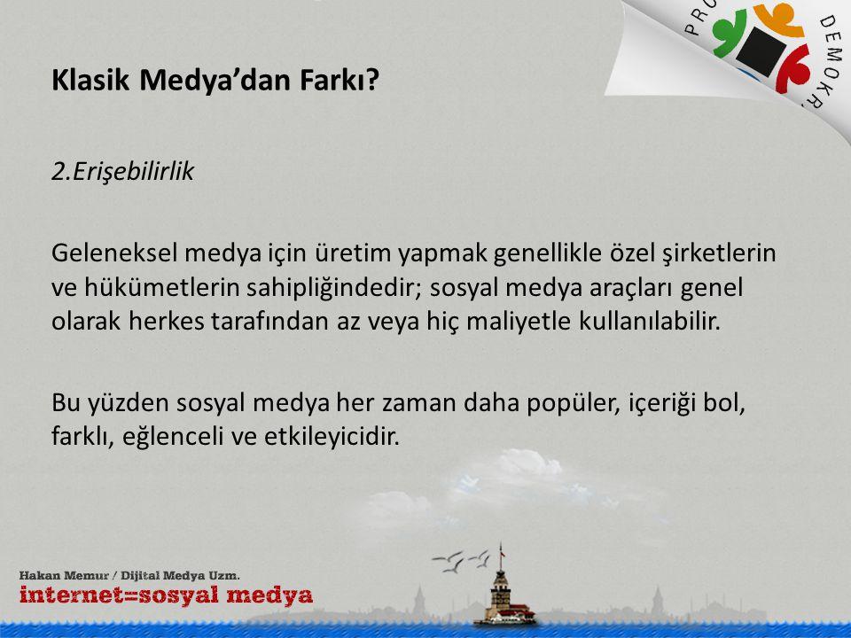 Sosyal Medya'nın Etkin Kullanımı Bugün dünyada 1.5 milyar, Türkiye'de 35 milyon insan sosyal medyada yer alıyor.