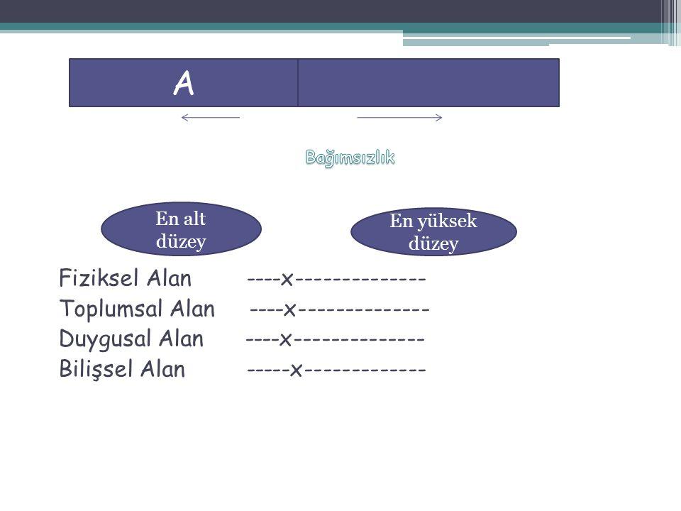 Fiziksel Alan ----x-------------- Toplumsal Alan ----x-------------- Duygusal Alan ----x-------------- Bilişsel Alan -----x------------- A En alt düze