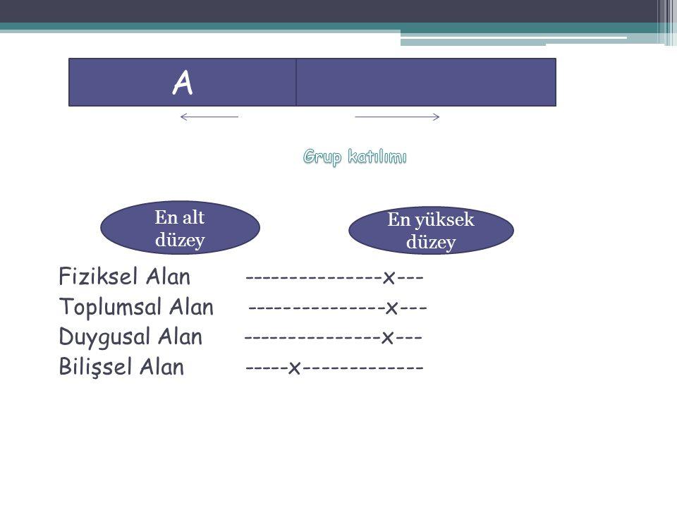 Fiziksel Alan ---------------x--- Toplumsal Alan ---------------x--- Duygusal Alan ---------------x--- Bilişsel Alan -----x------------- A En alt düze