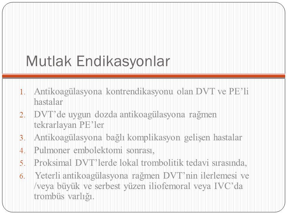 Mutlak Endikasyonlar 1. Antikoagülasyona kontrendikasyonu olan DVT ve PE'li hastalar 2. DVT'de uygun dozda antikoagülasyona rağmen tekrarlayan PE'ler