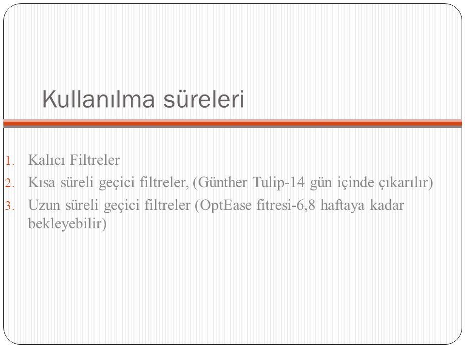 Kullanılma süreleri 1. Kalıcı Filtreler 2. Kısa süreli geçici filtreler, (Günther Tulip-14 gün içinde çıkarılır) 3. Uzun süreli geçici filtreler (OptE