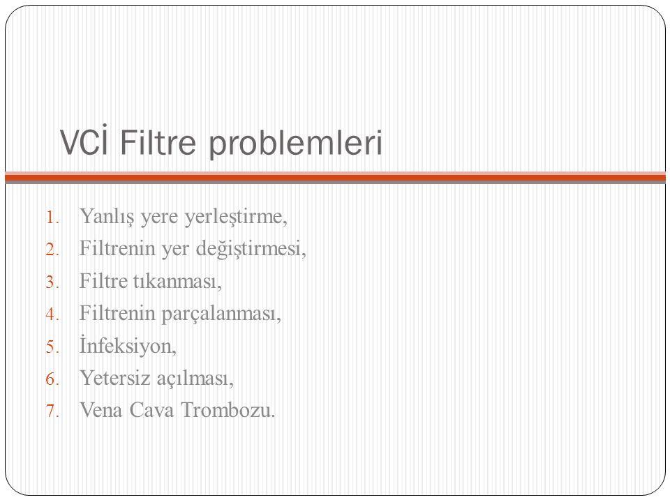 VCİ Filtre problemleri 1. Yanlış yere yerleştirme, 2. Filtrenin yer değiştirmesi, 3. Filtre tıkanması, 4. Filtrenin parçalanması, 5. İnfeksiyon, 6. Ye
