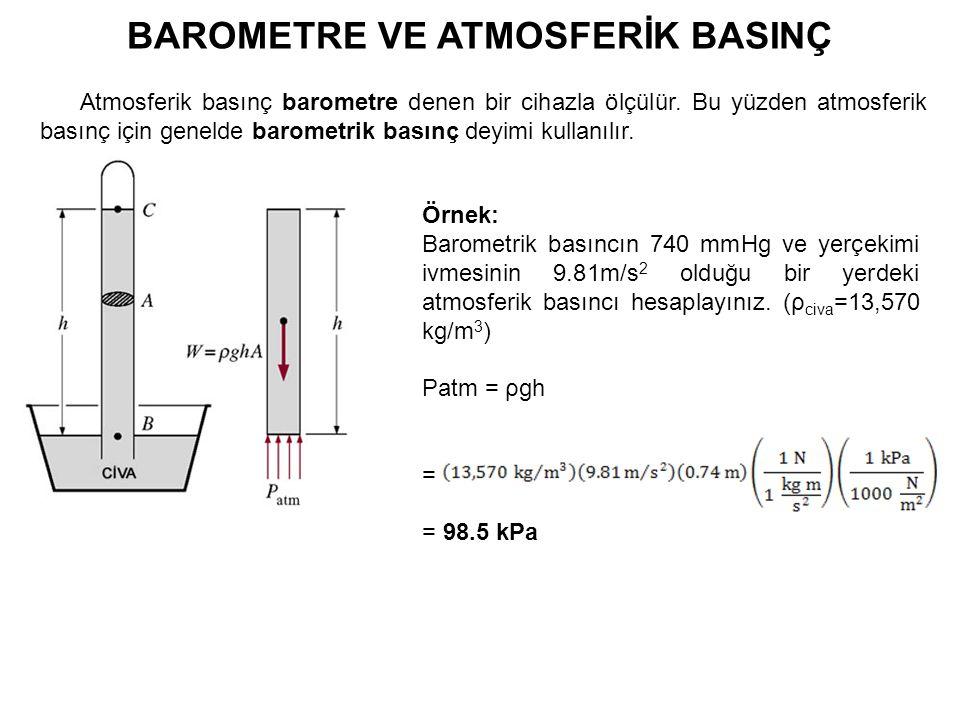 BAROMETRE VE ATMOSFERİK BASINÇ Atmosferik basınç barometre denen bir cihazla ölçülür. Bu yüzden atmosferik basınç için genelde barometrik basınç deyim