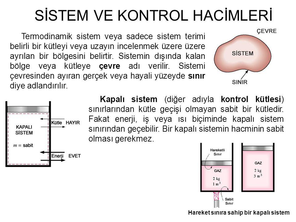 SİSTEM VE KONTROL HACİMLERİ Termodinamik sistem veya sadece sistem terimi belirli bir kütleyi veya uzayın incelenmek üzere üzere ayrılan bir bölgesini