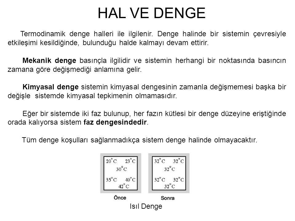 HAL VE DENGE Termodinamik denge halleri ile ilgilenir. Denge halinde bir sistemin çevresiyle etkileşimi kesildiğinde, bulunduğu halde kalmayı devam et