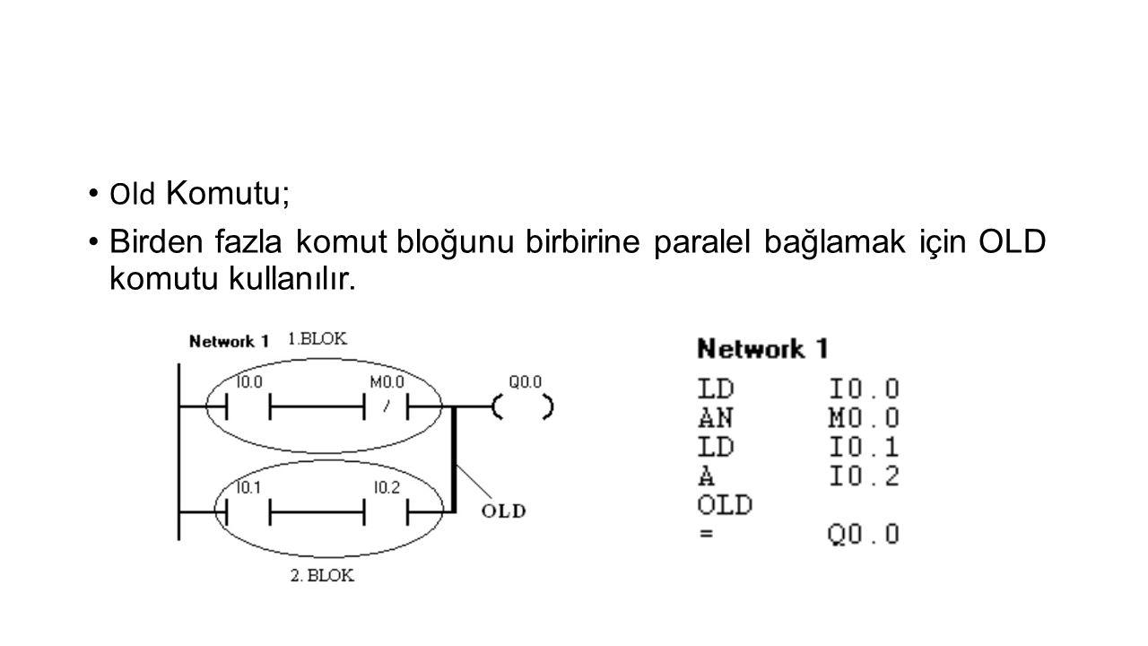 • Old Komutu; •Birden fazla komut bloğunu birbirine paralel bağlamak için OLD komutu kullanılır.