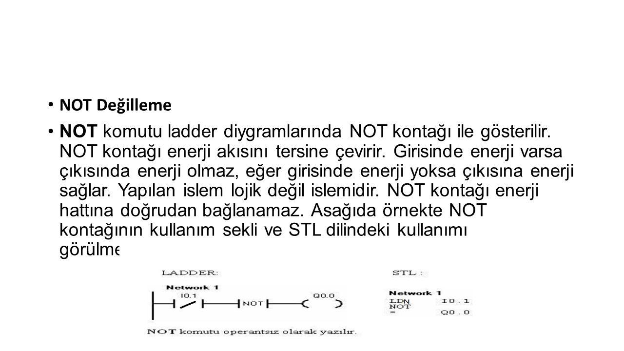 • NOT Değilleme •NOT komutu ladder diygramlarında NOT kontağı ile gösterilir.