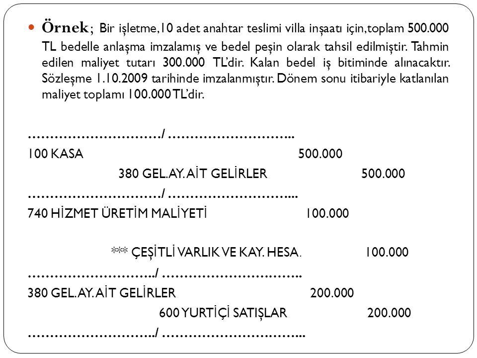  Örnek; Bir işletme,10 adet anahtar teslimi villa inşaatı için,toplam 500.000 TL bedelle anlaşma imzalamış ve bedel peşin olarak tahsil edilmiştir. T