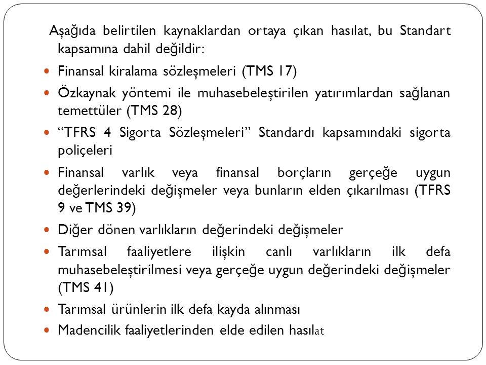 Aşa ğ ıda belirtilen kaynaklardan ortaya çıkan hasılat, bu Standart kapsamına dahil de ğ ildir:  Finansal kiralama sözleşmeleri (TMS 17)  Özkaynak y