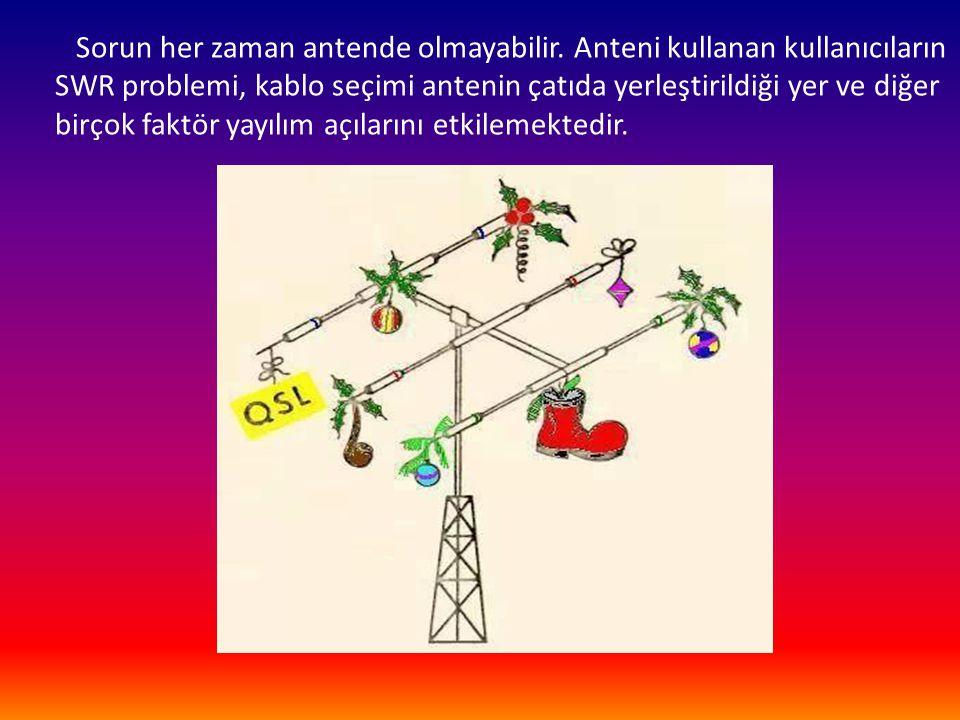 Sorun her zaman antende olmayabilir. Anteni kullanan kullanıcıların SWR problemi, kablo seçimi antenin çatıda yerleştirildiği yer ve diğer birçok fakt