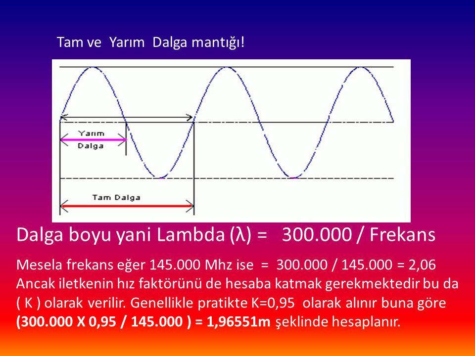 Tam ve Yarım Dalga mantığı! Dalga boyu yani Lambda (λ) = 300.000 / Frekans Mesela frekans eğer 145.000 Mhz ise = 300.000 / 145.000 = 2,06 Ancak iletke