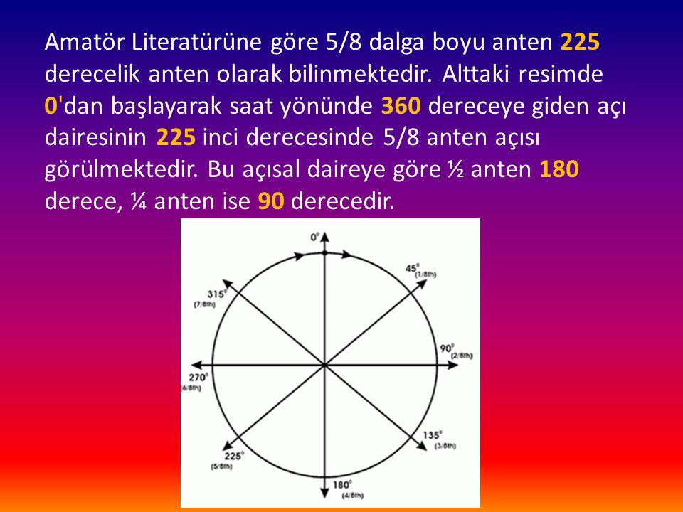Amatör Literatürüne göre 5/8 dalga boyu anten 225 derecelik anten olarak bilinmektedir. Alttaki resimde 0'dan başlayarak saat yönünde 360 dereceye gid