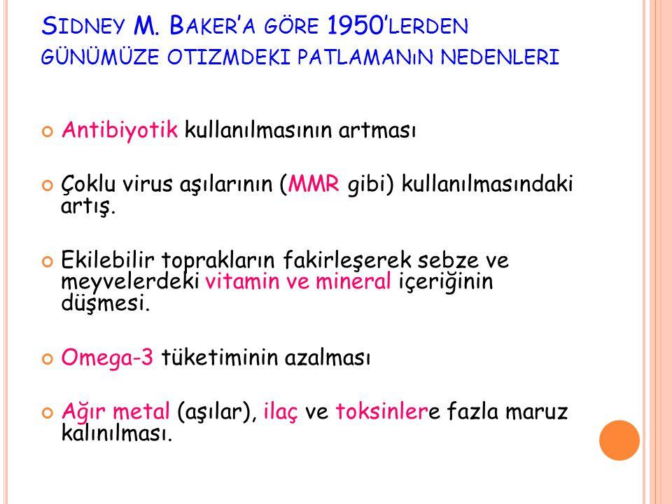 S IDNEY M. B AKER ' A GÖRE 1950' LERDEN GÜNÜMÜZE OTIZMDEKI PATLAMANıN NEDENLERI Antibiyotik kullanılmasının artması Çoklu virus aşılarının (MMR gibi)