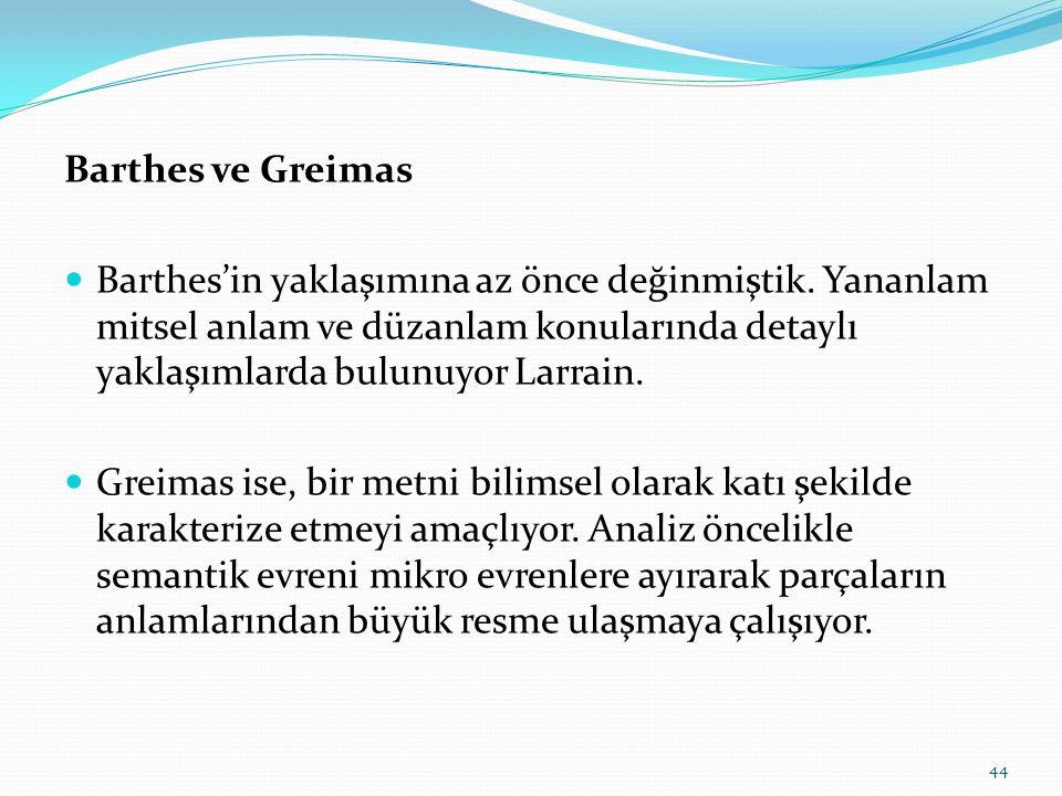 Barthes ve Greimas  Barthes'in yaklaşımına az önce değinmiştik.