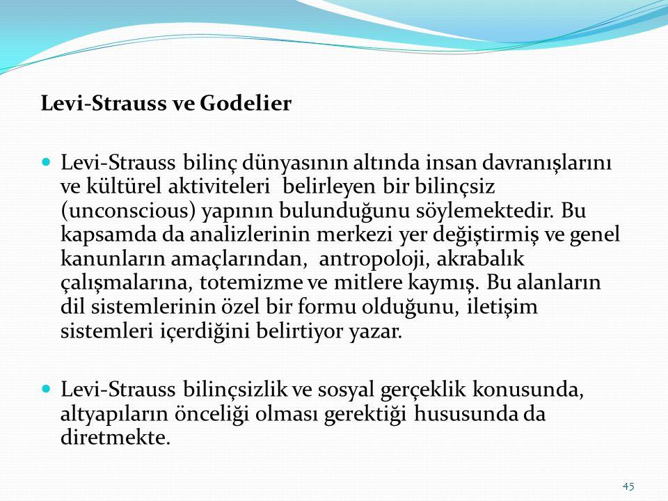 Levi-Strauss ve Godelier  Levi-Strauss bilinç dünyasının altında insan davranışlarını ve kültürel aktiviteleri belirleyen bir bilinçsiz (unconscious) yapının bulunduğunu söylemektedir.