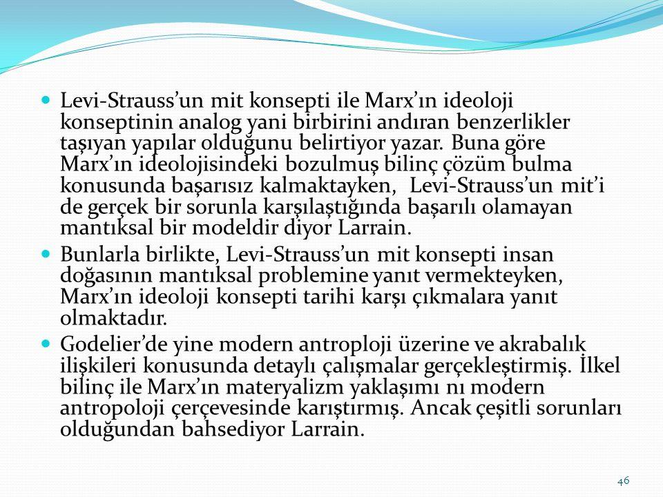  Levi-Strauss'un mit konsepti ile Marx'ın ideoloji konseptinin analog yani birbirini andıran benzerlikler taşıyan yapılar olduğunu belirtiyor yazar.