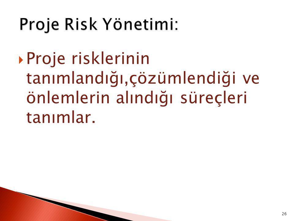  Proje risklerinin tanımlandığı,çözümlendiği ve önlemlerin alındığı süreçleri tanımlar. 26