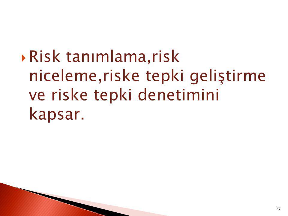  Risk tanımlama,risk niceleme,riske tepki geliştirme ve riske tepki denetimini kapsar. 27