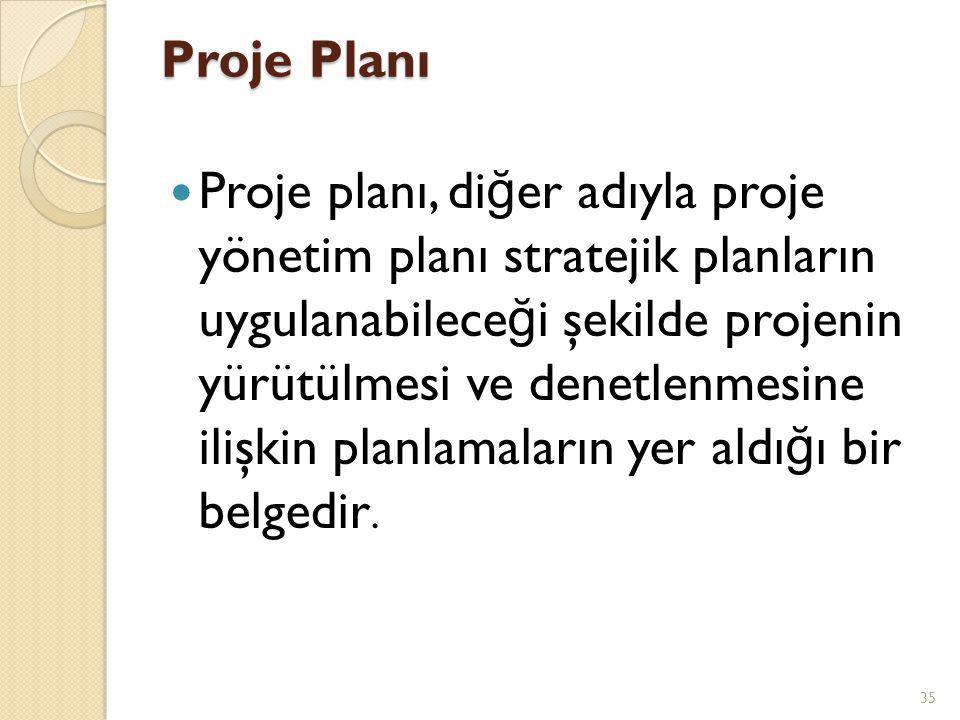 Proje Planı  Proje planı, di ğ er adıyla proje yönetim planı stratejik planların uygulanabilece ğ i şekilde projenin yürütülmesi ve denetlenmesine ilişkin planlamaların yer aldı ğ ı bir belgedir.