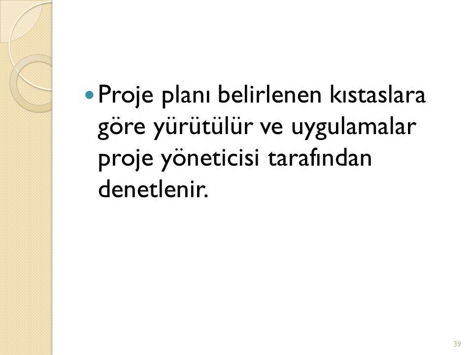  Proje planı belirlenen kıstaslara göre yürütülür ve uygulamalar proje yöneticisi tarafından denetlenir.