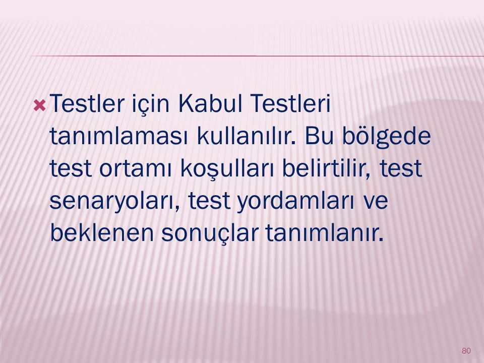  Testler için Kabul Testleri tanımlaması kullanılır.