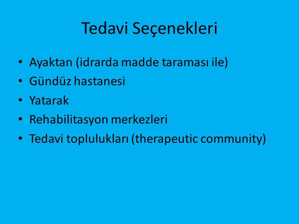 Tedavi Seçenekleri • Ayaktan (idrarda madde taraması ile) • Gündüz hastanesi • Yatarak • Rehabilitasyon merkezleri • Tedavi toplulukları (therapeutic community)