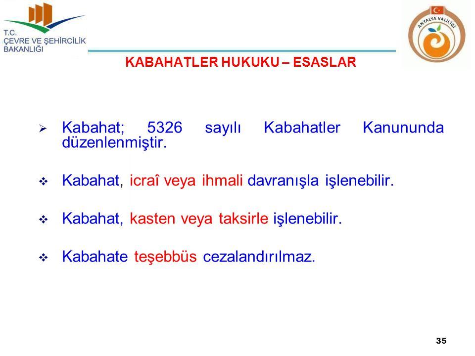 KABAHATLER HUKUKU – ESASLAR  Kabahat; 5326 sayılı Kabahatler Kanununda düzenlenmiştir.