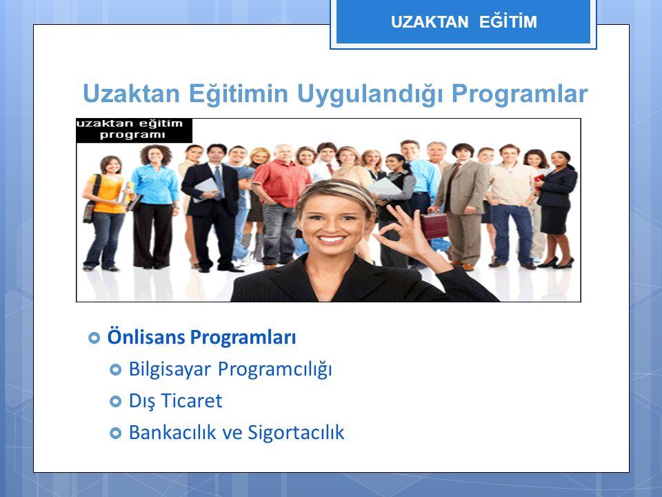 Uzaktan Eğitimin Uygulandığı Programlar  Önlisans Programları  Bilgisayar Programcılığı  Dış Ticaret  Bankacılık ve Sigortacılık UZAKTAN EĞİTİM