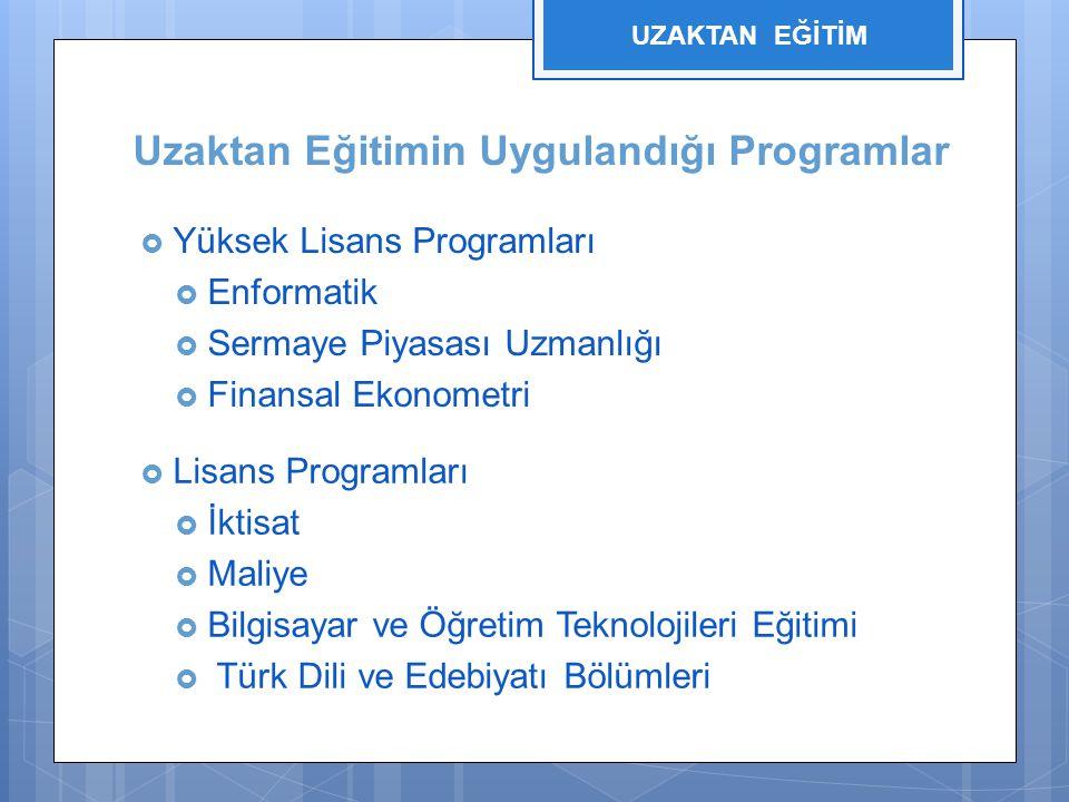 Uzaktan Eğitimin Uygulandığı Programlar  Yüksek Lisans Programları  Enformatik  Sermaye Piyasası Uzmanlığı  Finansal Ekonometri  Lisans Programları  İktisat  Maliye  Bilgisayar ve Öğretim Teknolojileri Eğitimi  Türk Dili ve Edebiyatı Bölümleri UZAKTAN EĞİTİM