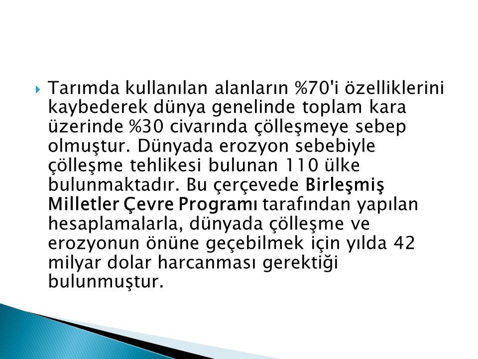  Türkiye topraklarının ise,  %90 ı su erozyonu,  %1 i de rüzgâr erozyonuna maruz kalmaktadır.