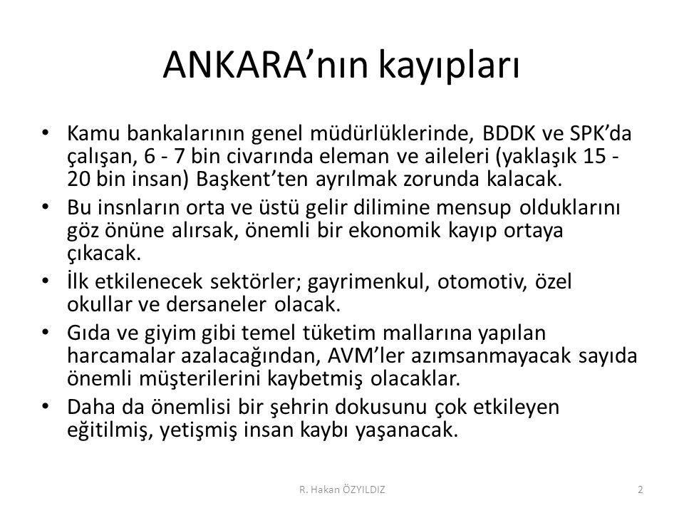 ANKARA'nın kayıpları • Kamu bankalarının genel müdürlüklerinde, BDDK ve SPK'da çalışan, 6 - 7 bin civarında eleman ve aileleri (yaklaşık 15 - 20 bin insan) Başkent'ten ayrılmak zorunda kalacak.