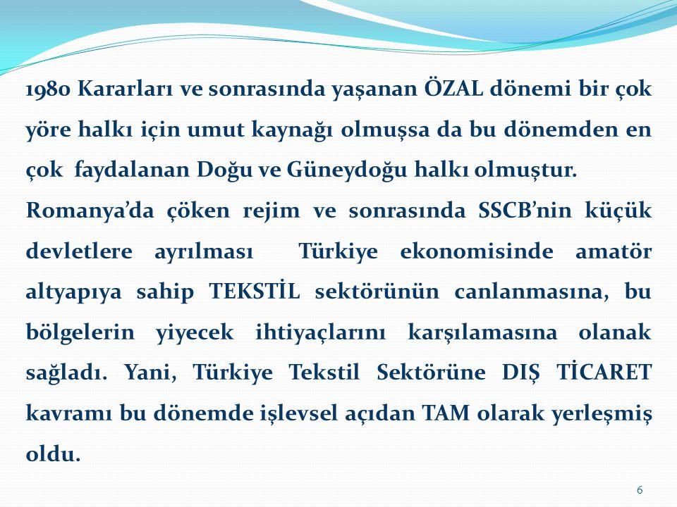 Türkiye ekonomisi 1961 Kararlarıyla İthalata ciddi sınırlamalar koymuş ve bunun sonucu olarak yerli üretimde ''Atatürk Dönemi''ne yakın bir ilerleme sağlanmıştır.