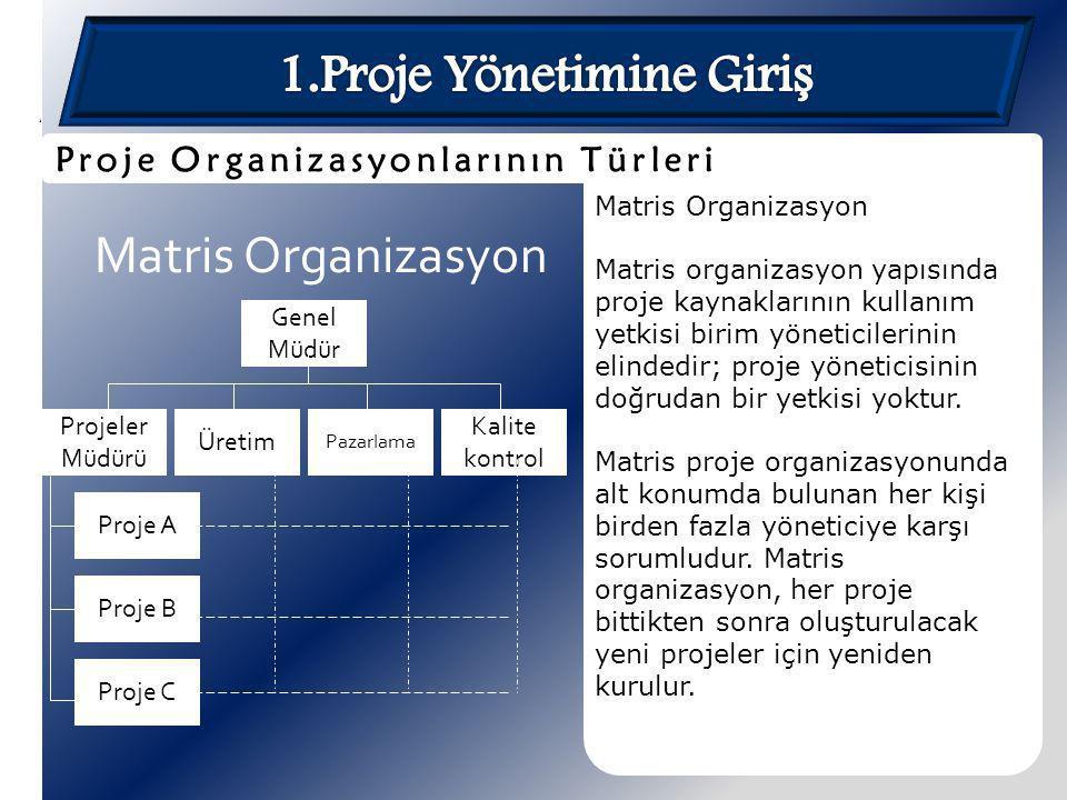 Matris Organizasyon Matris organizasyon yapısında proje kaynaklarının kullanım yetkisi birim yöneticilerinin elindedir; proje yöneticisinin doğrudan b